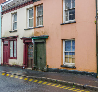 Typical old terraced housing in Carmarthen Town Centre